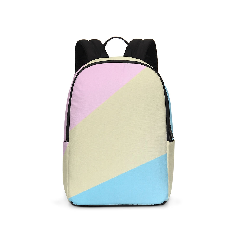 Pink, Blue, & Cream Color Block Large Backpack
