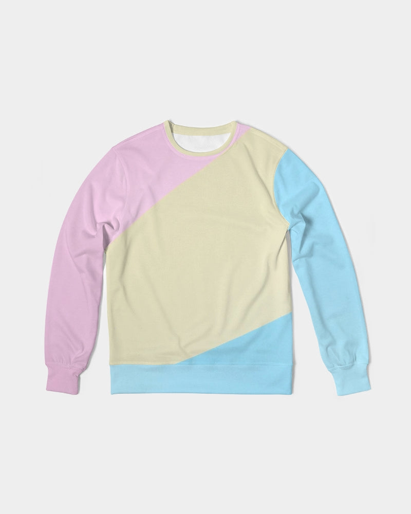 Pink, Blue, & Cream Color block Men's Classic French Terry Crewneck Pullover