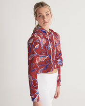 Load image into Gallery viewer, Red Watercolor Paisley Women's Cropped Hoodie