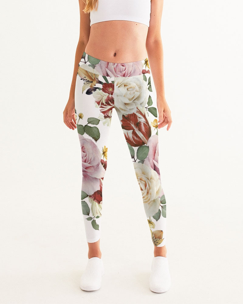 Red White & Pink Roses Women's Yoga Pants