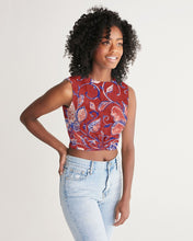 Load image into Gallery viewer, Red Watercolor Paisley Women's Twist-Front Tank