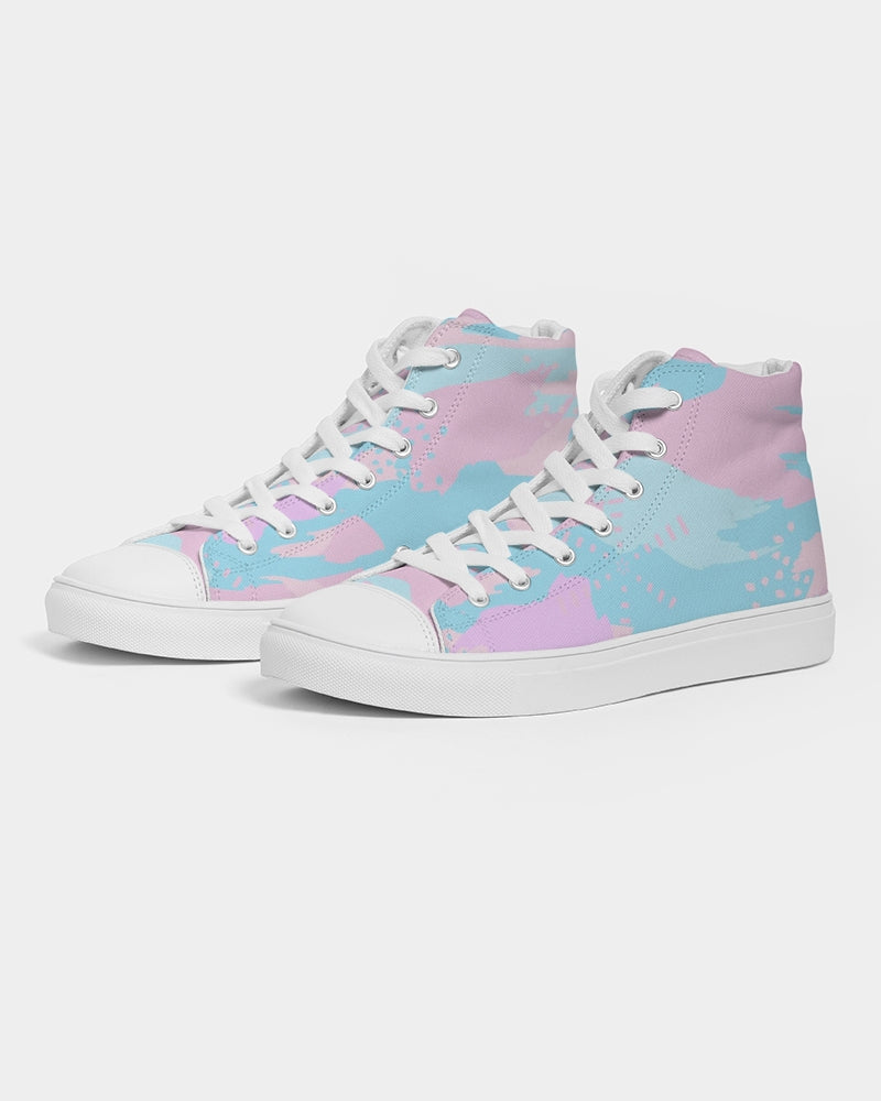 Pastel Camouflage Women's High Top Canvas Shoe