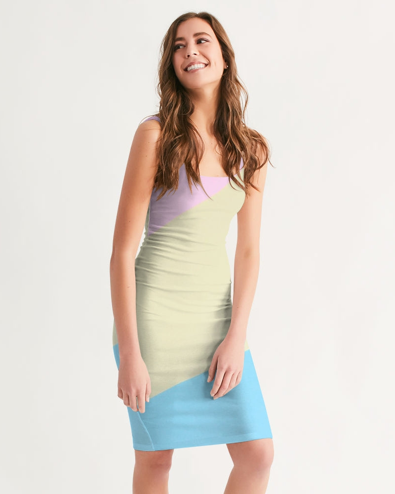 Pink, Blue, & Cream Color Block Women's Midi Bodycon Dress