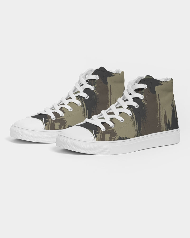 Paintbrush Camouflage Women's High Top Canvas Shoe