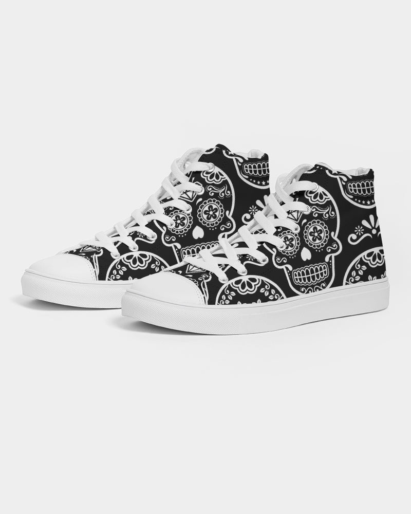Black & White Calavera Women's High Top Canvas Shoe
