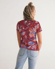Load image into Gallery viewer, Red Watercolor Paisley Women's V-Neck Tee