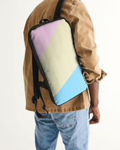 Load image into Gallery viewer, Pink, Blue, & Cream Color Block Slim Tech Backpack