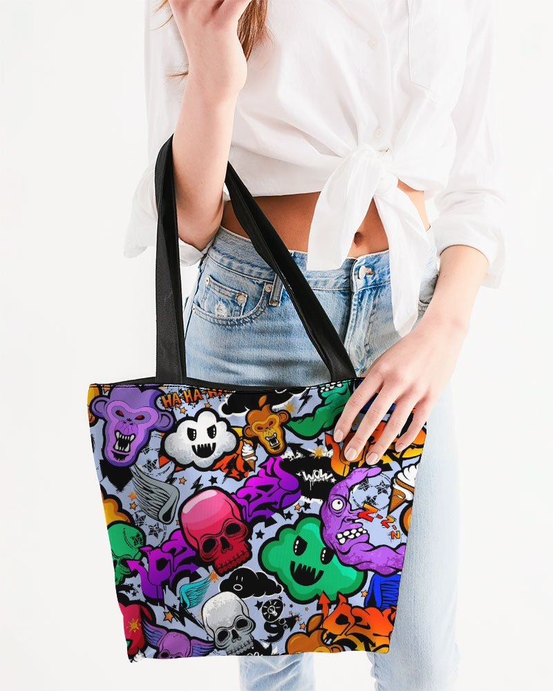 Spooky Graffiti Canvas Zip Tote