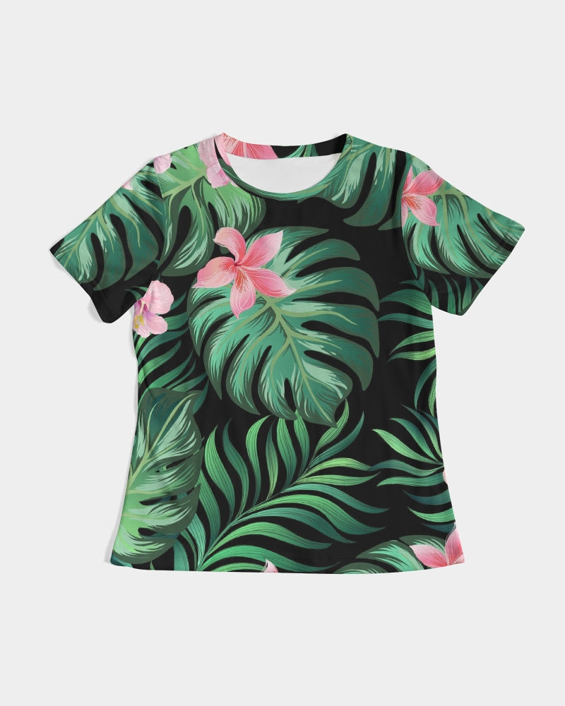 Summer Palm Leaves And Flowers Women's Tee