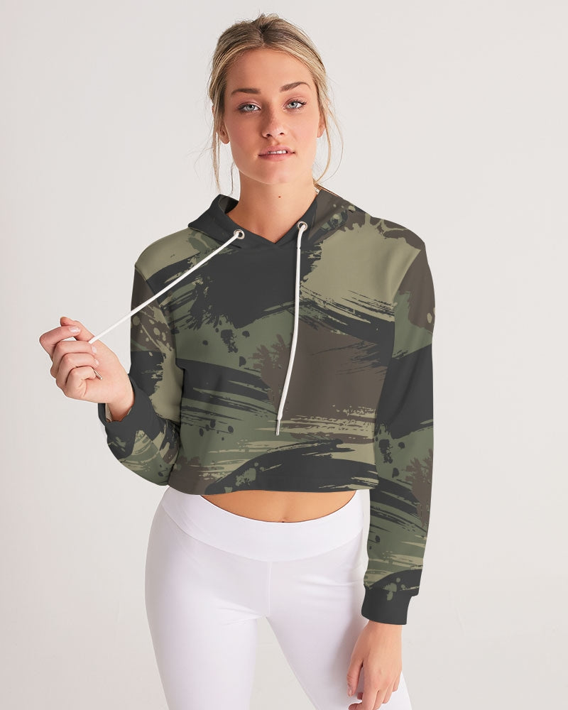 Paintbrush Camouflage Women's Cropped Hoodie
