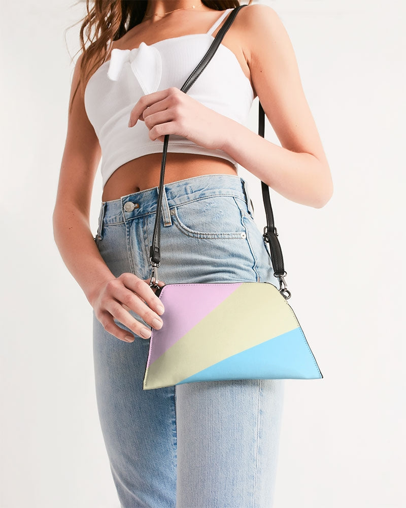 Pink, Blue, & Cream Color Block Wristlet