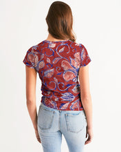 Load image into Gallery viewer, Red Watercolor Paisley Women's Tee