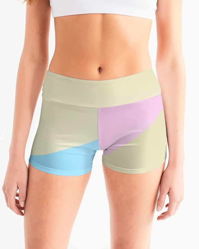 Pink, Blue, & Cream Color Block Women's Mid-Rise Yoga Shorts