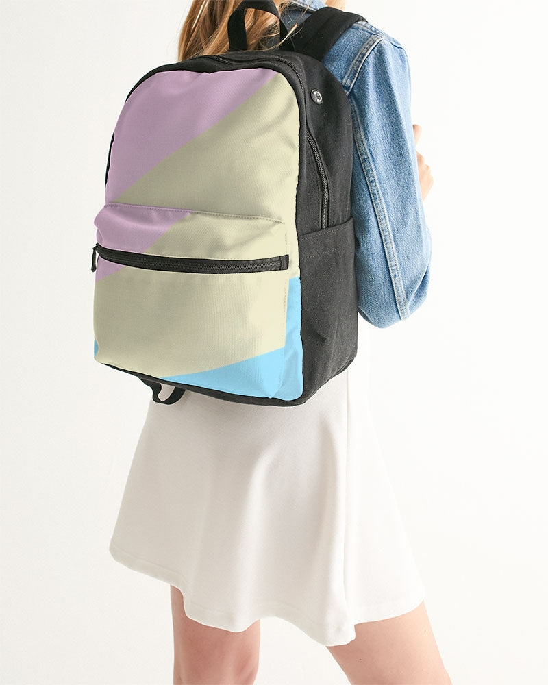 Pink, Blue, & Cream Color Block Small Canvas Backpack