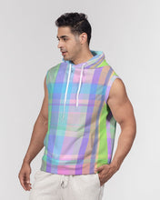 Load image into Gallery viewer, Pastel Plaid Men's Premium Heavyweight Sleeveless Hoodie