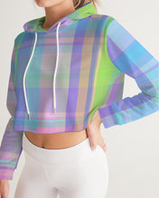 Load image into Gallery viewer, Pastel Plaid Women's Cropped Hoodie