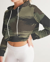 Load image into Gallery viewer, Paintbrush Camouflage Women's Cropped Hoodie