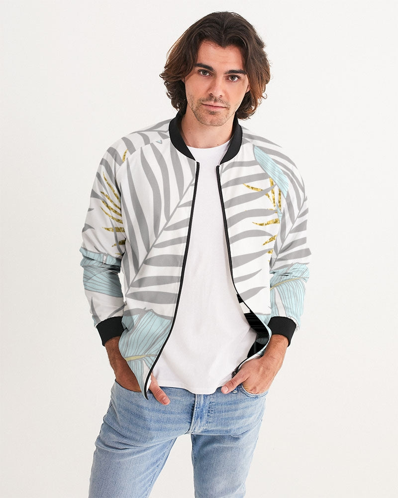 Banana And Golden Palm Leaves Men's Bomber Jacket