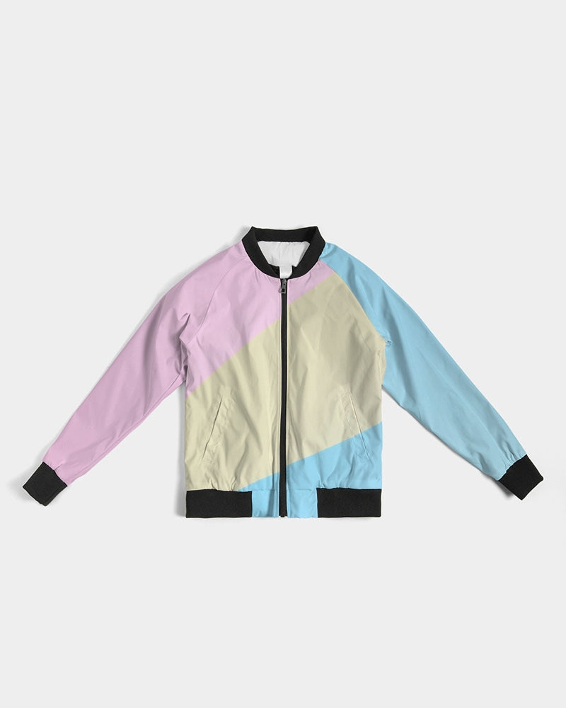 Pink, Blue, & Cream Color Block Women's Bomber Jacket