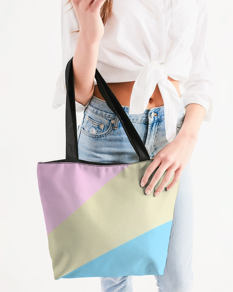 Pink, Blue, & Cream Color block Canvas Zip Tote