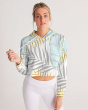 Load image into Gallery viewer, Banana And Golden Palm Leaves Women's Cropped Hoodie