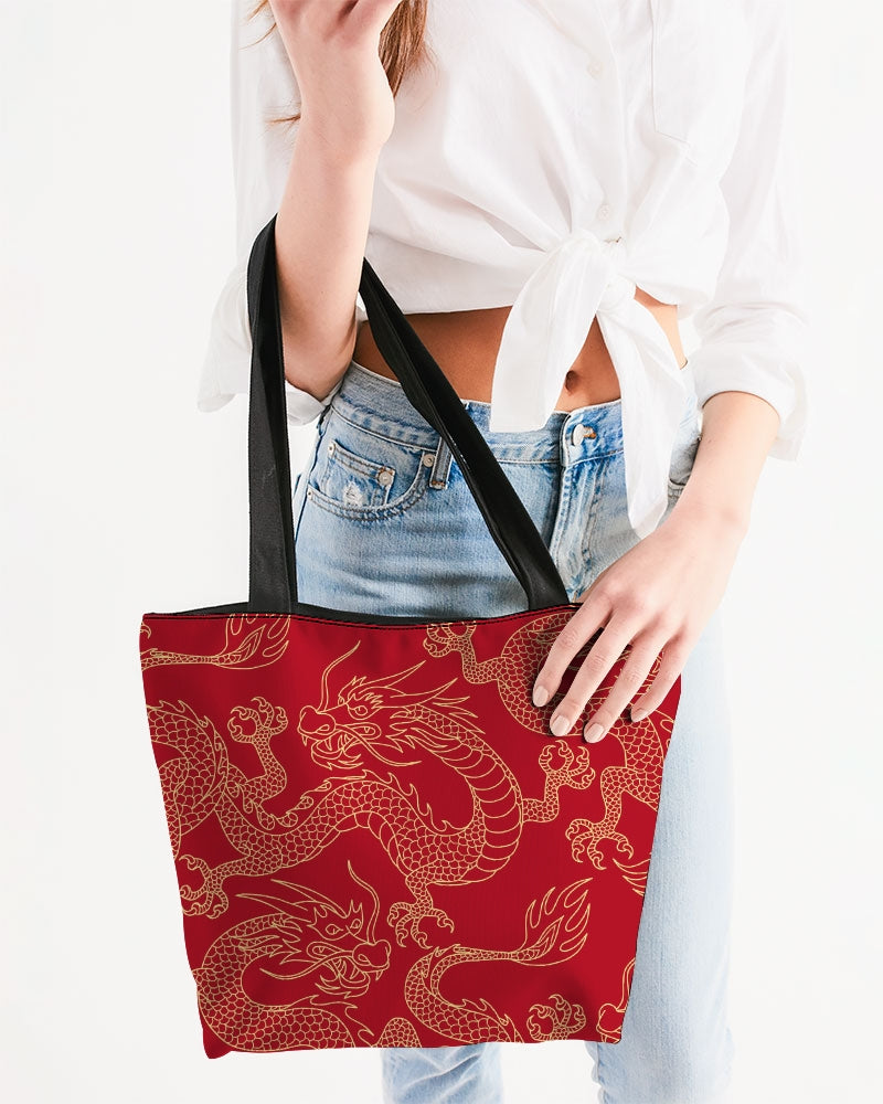 Gold & Red Dragon Canvas Zip Tote
