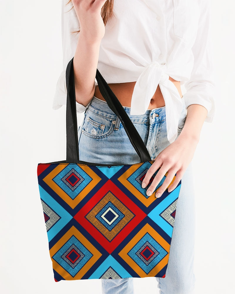 Tribal Patchwork Canvas Zip Tote