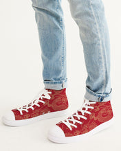 Load image into Gallery viewer, Gold & Red Dragon Men's High Top Canvas Shoe