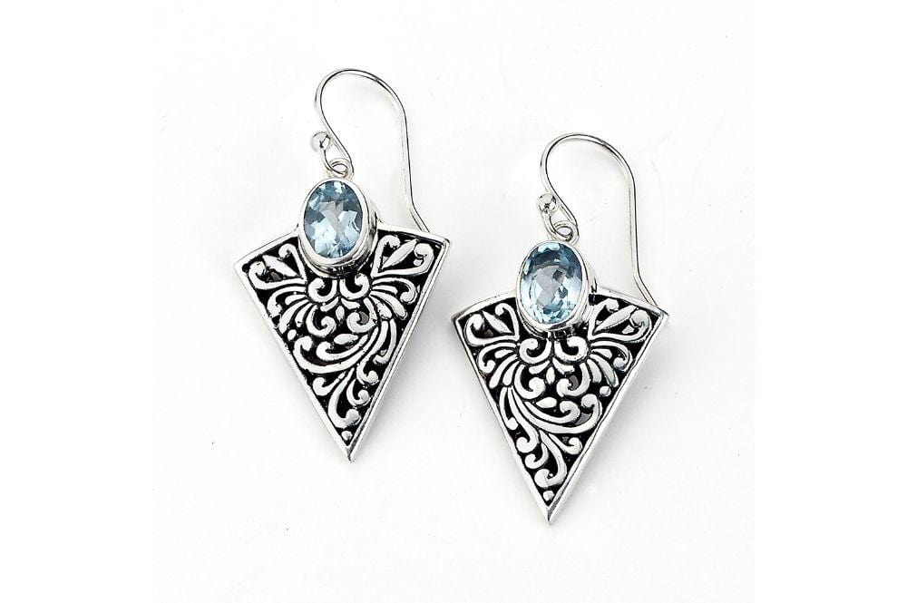 Samuel B EARRING ARROWHEAD EARRINGS Blue Topaz