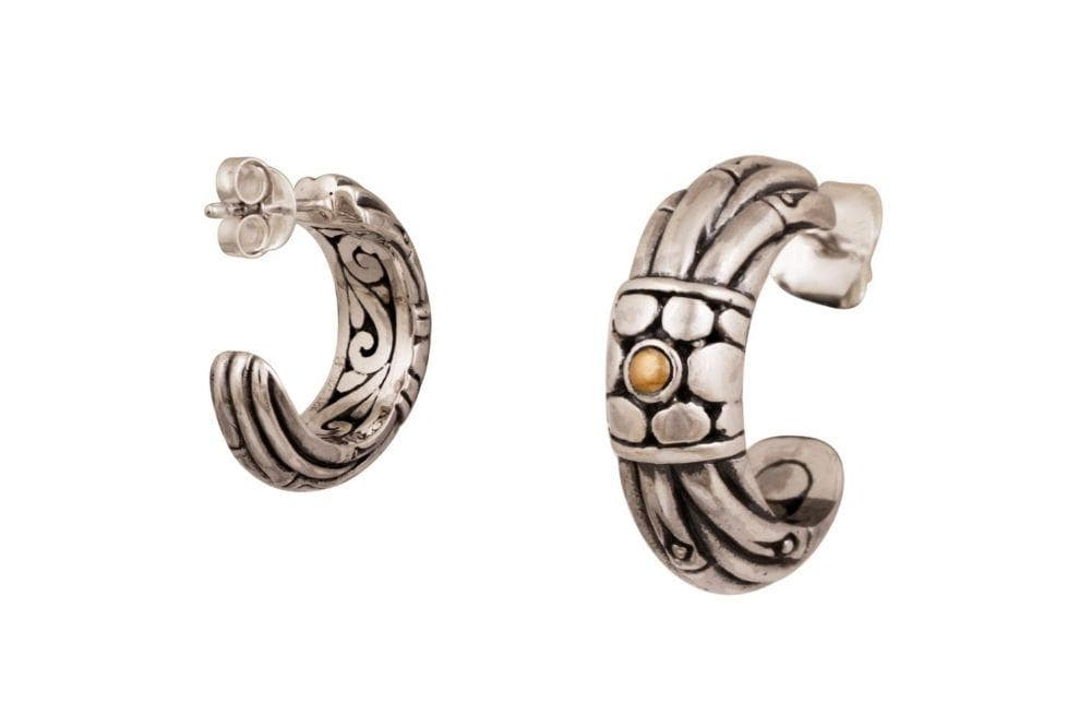 Samuel B EARRING BAMBU EARRINGS SILVER AND GOLD