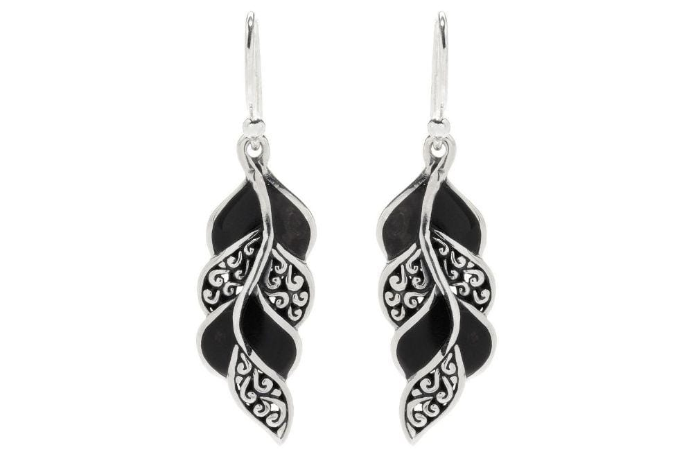 Samuel B. EARRING Cascada Leaf Earrings- Black Shell Black Shell