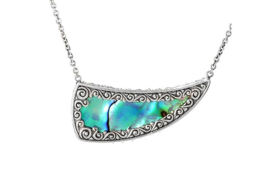 Samuel B NECKLACE CRESCENT MOON PENDANT PAUA