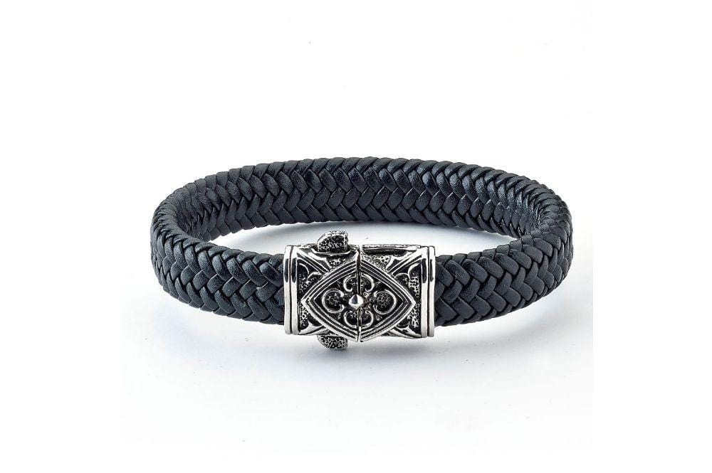 Samuel B BRACELET FLORAL FILIGREE LEATHER BRACELET BLACK LEATHER