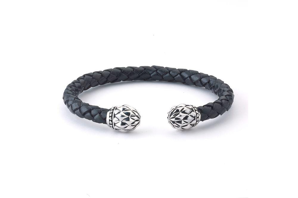 Samuel B BANGLE FLOWER BUD BANGLE BLACK LEATHER