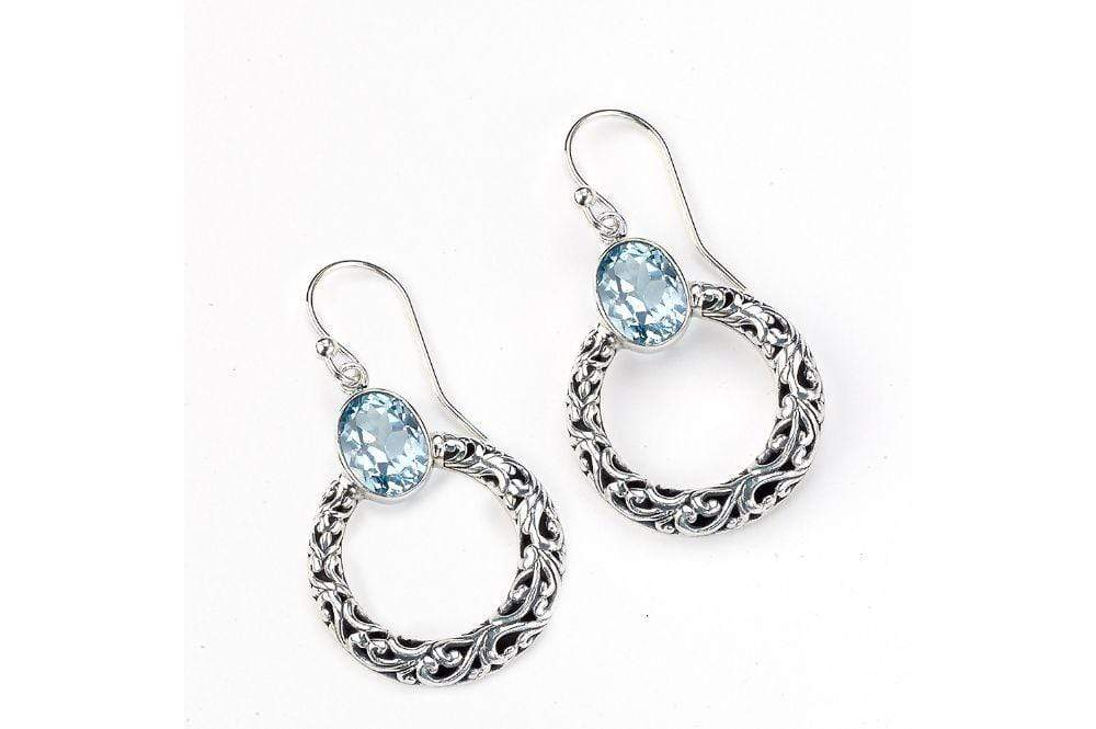 Samuel B EARRING Sacred Circle Earrings Blue Topaz