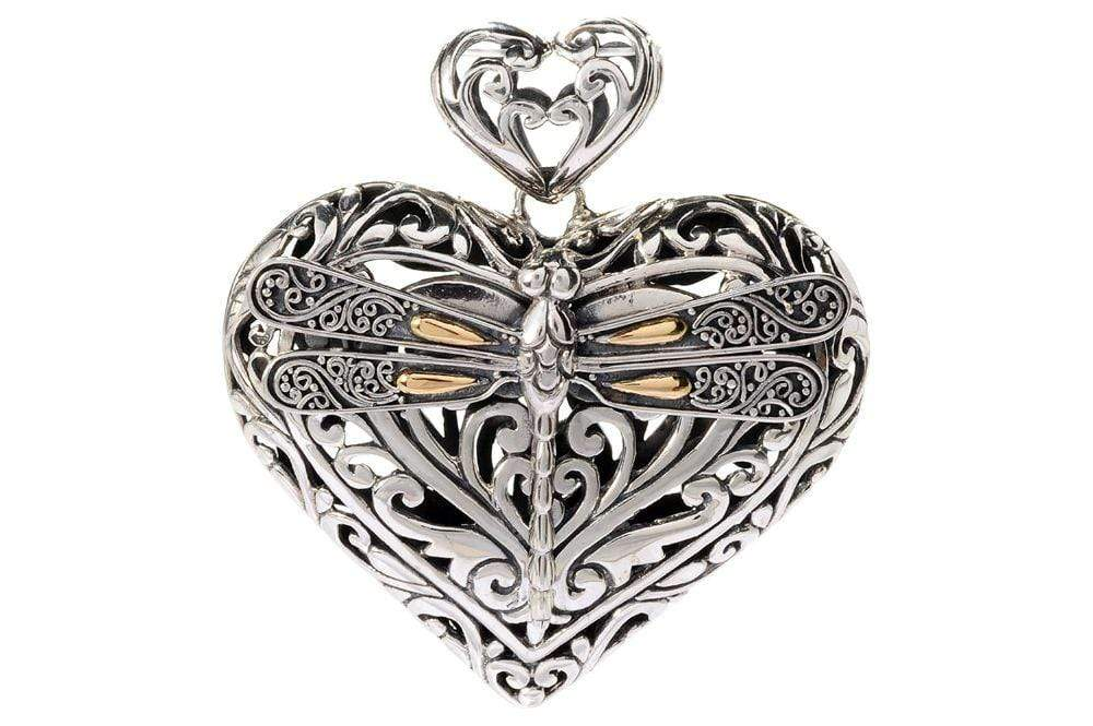 Samuel B PENDANT Tranquility Heart Pendant Silver And Gold