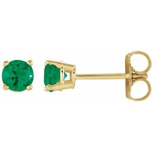 14K Yellow 2.5 mm Round Chatham® Created Emerald Earrings