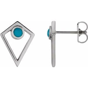 Platinum Turquoise Cabochon Pyramid Earrings