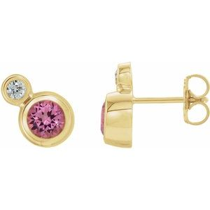 14K Yellow Pink Tourmaline & .06 CTW Diamond Earrings