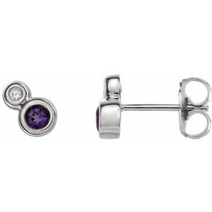 Platinum Amethyst & .06 CTW Diamond Earrings