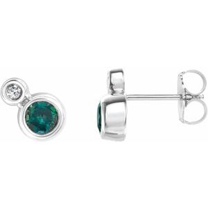 Sterling Silver Chatham® Created Alexandrite & .06 CTW Diamond Earrings