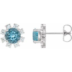 Platinum Blue Zircon & 1/2 CTW Diamond Earrings