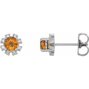 Platinum Citrine & .07 CTW Diamond Earrings