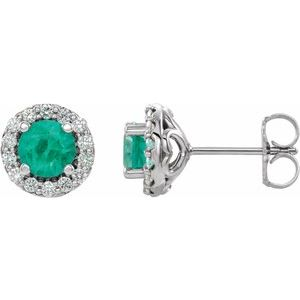 14K White Chatham® Lab-Created Emerald & 1/6 Diamond Earrings