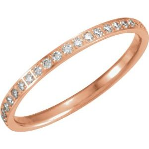 14K Rose 1/4 CTW Diamond Anniversary Band Size 6