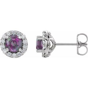 14K White Chatham® Lab-Created Alexandrite & 1/6 Diamond Earrings