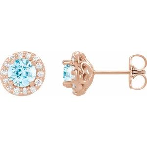 14K Rose Aquamarine & 1/4 CTW Diamond Earrings