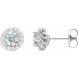 14K White Sapphire & 1/4 CTW Diamond Earrings