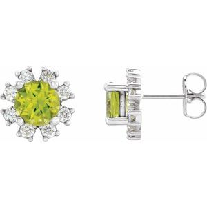 Sterling Silver Peridot & .07 CTW Diamond Earrings