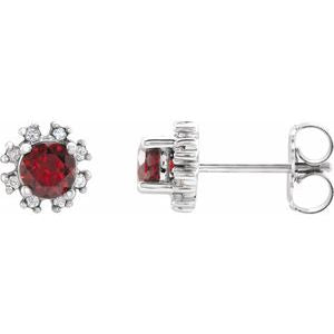 Platinum Mozambique Garnet & .07 CTW Diamond Earrings